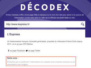 le decodex analyse si une source est fiable