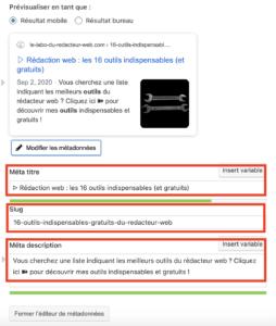 les metadonnees contiennent les balises html de titre, description et url