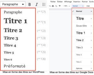 mise en page des balises html de titres avec wordpress et google docs