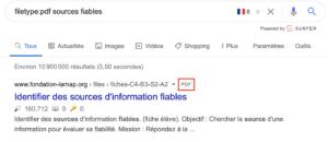utiliser l'operateur filetype sur google