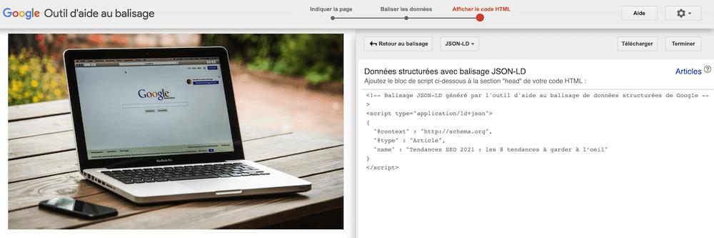 creation fichier html avec donnees structurees dans l'outil d'aide au balisage google
