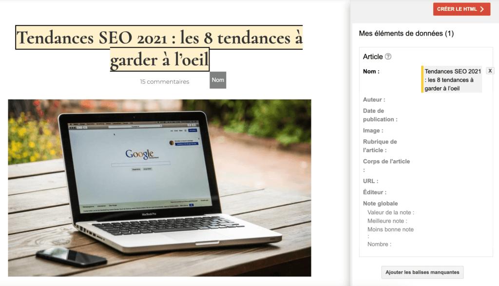 ajout donnees structurees dans l'outil d'aide au balisage google