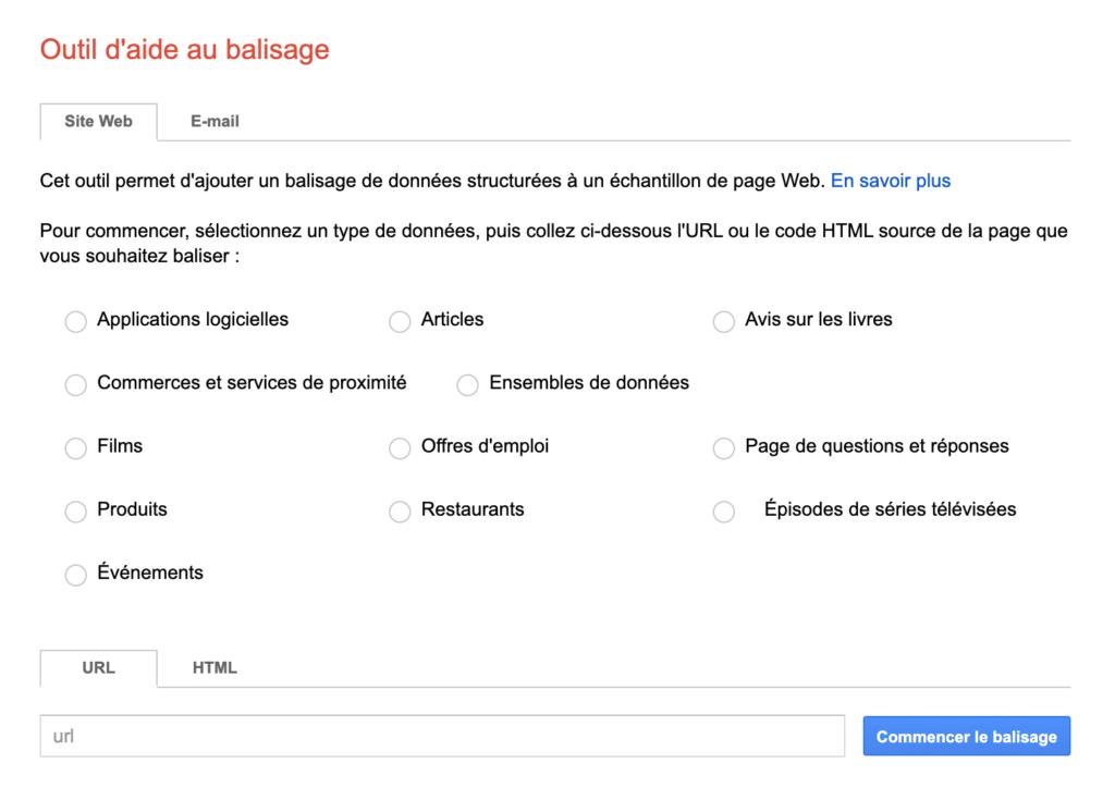 outil d'aide au balisage google