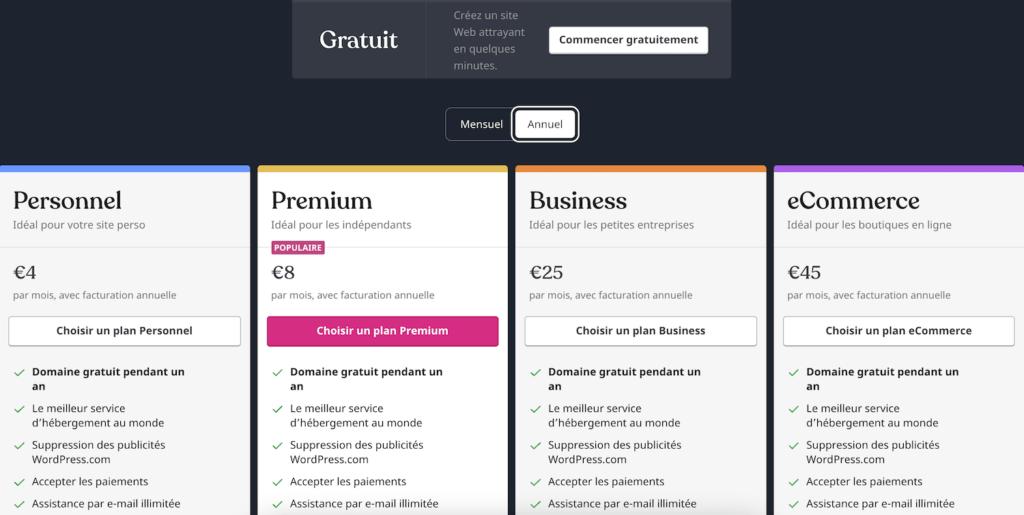 sur wordpress.com vous pouvez entre differents abonnements gratuit ou payant